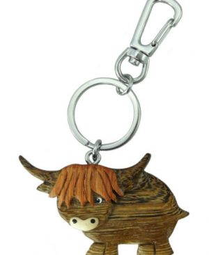 Wooden Highland Cow Keyring