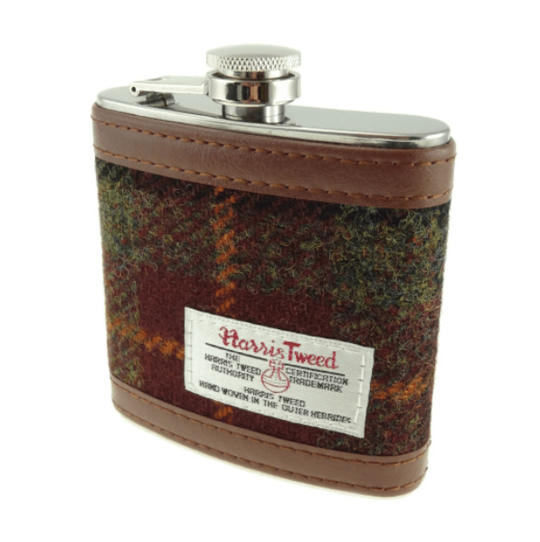 6oz Harris Tweed Hip Flask in Rust Check