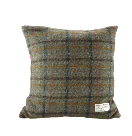 Harris Tweed Square Cushion in Brown Check1