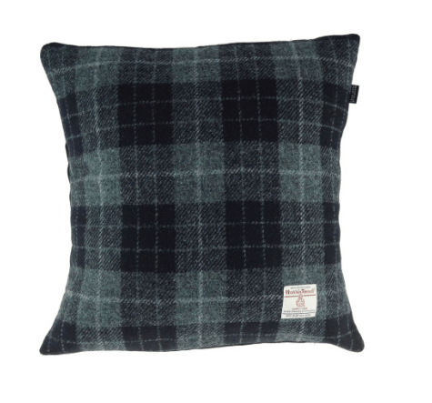 Harris Tweed Square Cushion in GreyBlack Tartan1