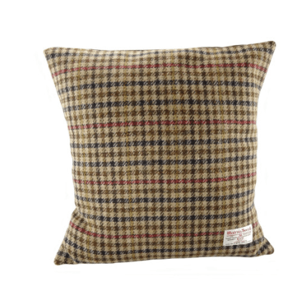 Harris Tweed Square Cushion in Large Brown Dogtooth1