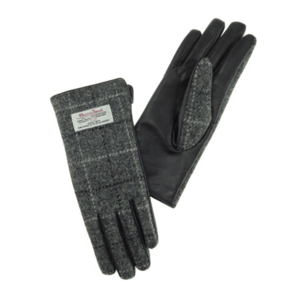 Ladies Black Leather & Tweed Gloves in Grey Check – SML
