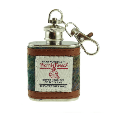1oz Harris Tweed Hip Flask Keyring – Sold in box of 12 assorted colours1