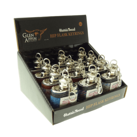 1oz Harris Tweed Hip Flask Keyring – Sold in box of 12 assorted colours2