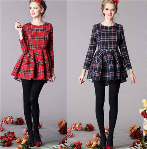 Hot-Sale-Women-Dress-2015-Scottish-Style-Fashion-Long-sleeve-Red-Navyblue-Plaid-Ball-Gown-Dress