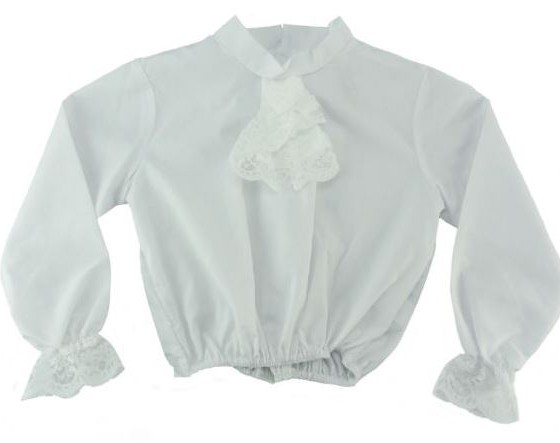 White Shirt with Lace Jabot