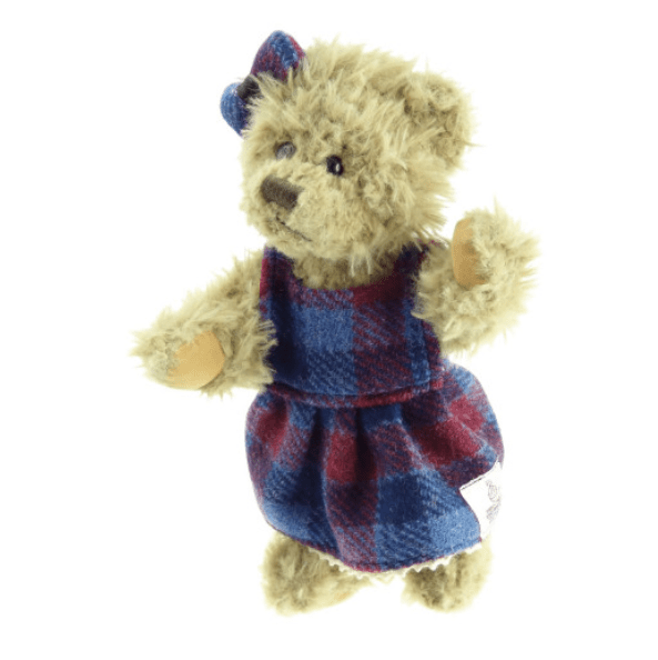 25cm Girl Teddy Bear with Harris Tweed Clothing in Blue Pink Check