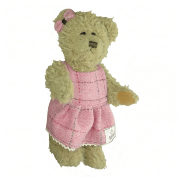 25cm Girl Teddy Bear with Harris Tweed Clothing in Bright Pink with Overcheck