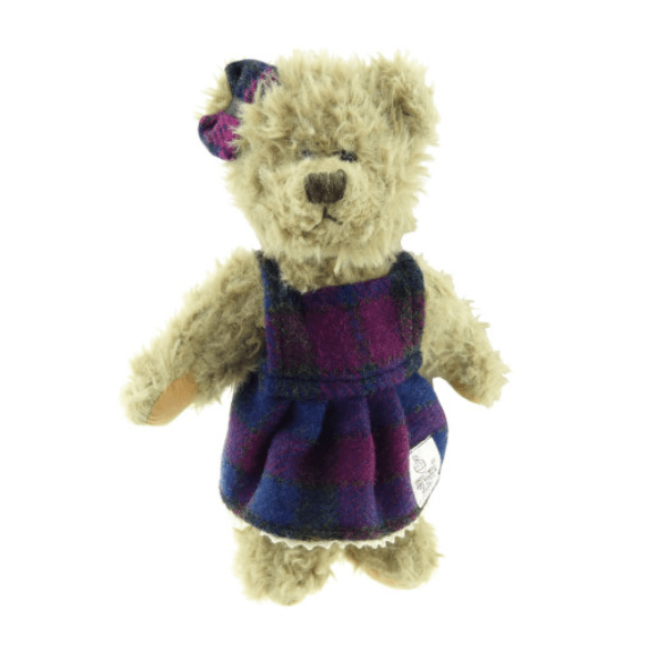 25cm Girl Teddy Bear with Harris Tweed Clothing in Heather Check