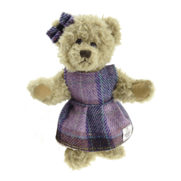 25cm Girl Teddy Bear with Harris Tweed Clothing in PinkLilac Check