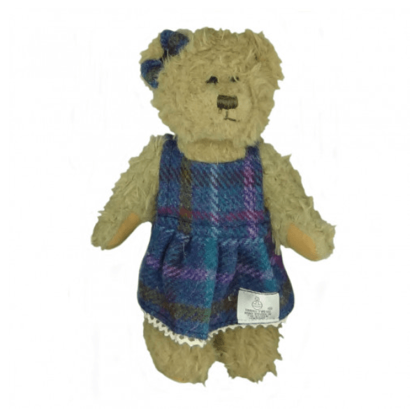 25cm Girl Teddy Bear with Harris Tweed Clothing in Purple Multi Check