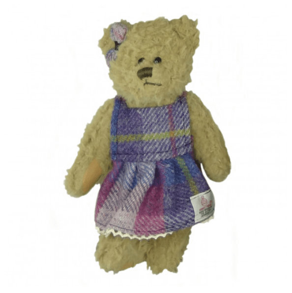 25cm Girl Teddy Bear with Harris Tweed Clothing in PurplePink Tartan