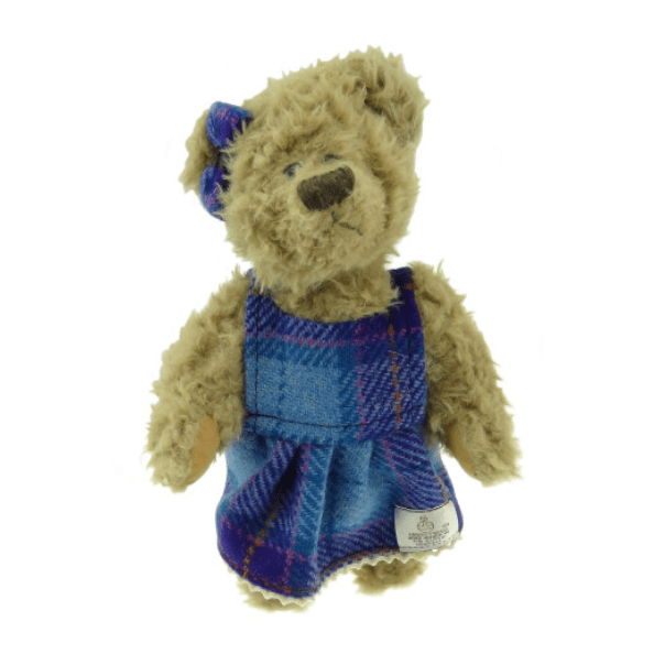 25cm Girl Teddy Bear with Harris Tweed Clothing in Turquoise Check