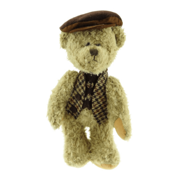 35cm Boy Teddy Bear with Harris Tweed Clothing in Brown Tweed