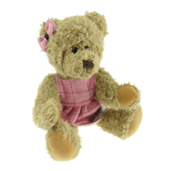35cm Girl Teddy Bear with Harris Tweed Clothing in Bright Pink with Overcheck