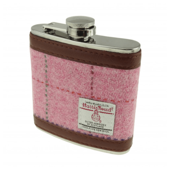 6oz Harris Tweed Hip Flask in Bright Pink with over check