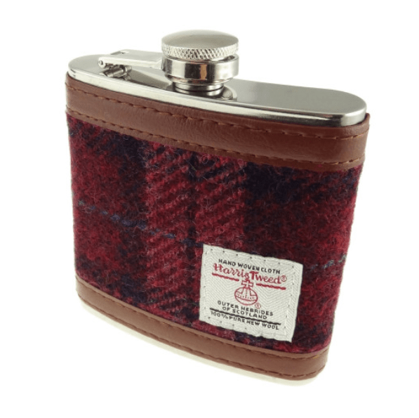 6oz Harris Tweed Hip Flask in Raspberry Check