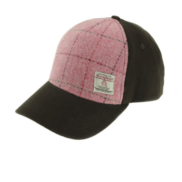 Baseball Cap with Harris Tweed in Bright Pink with Overcheck
