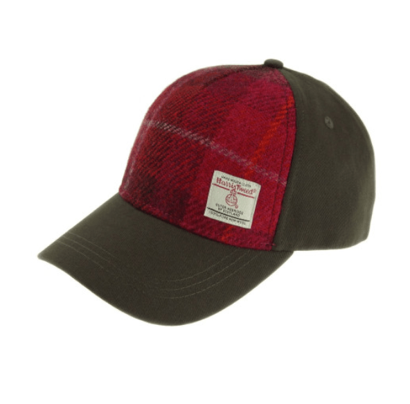 Baseball Cap with Harris Tweed in Deep Pink Tartan