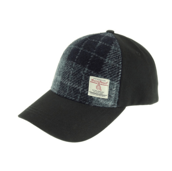 Baseball Cap with Harris Tweed in Grey & Black Tartan