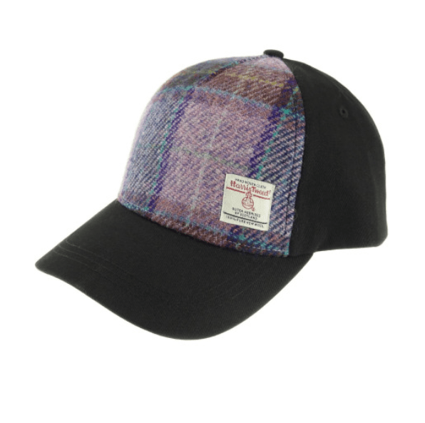 Baseball Cap with Harris Tweed in PinkLilac Check