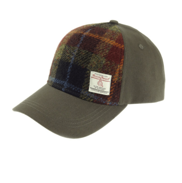 Baseball Cap with Harris Tweed in Rust Check