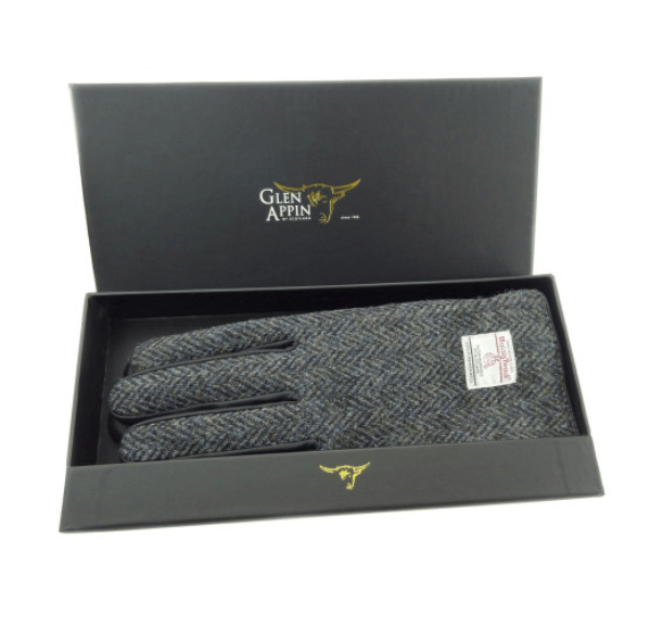 Gents Black Leather & Harris Tweed Gloves Boxed in Charcoal HB
