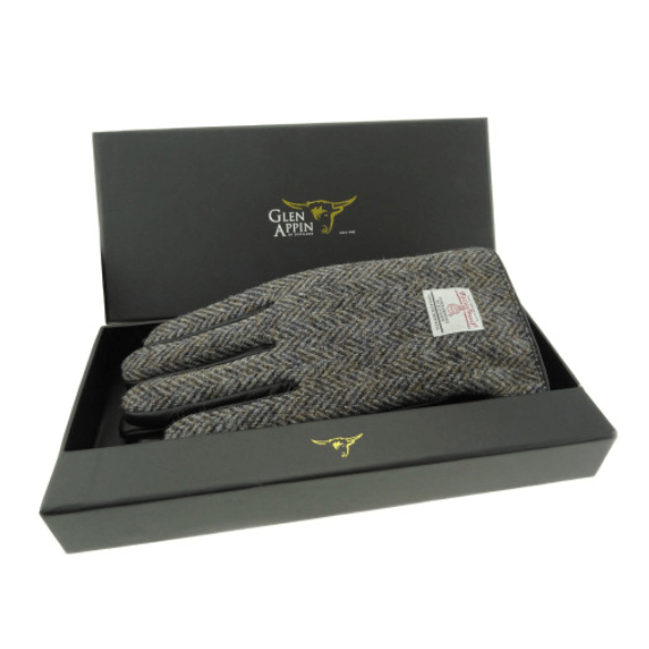 Gents Black Leather & Harris Tweed Gloves Boxed in Heather HB