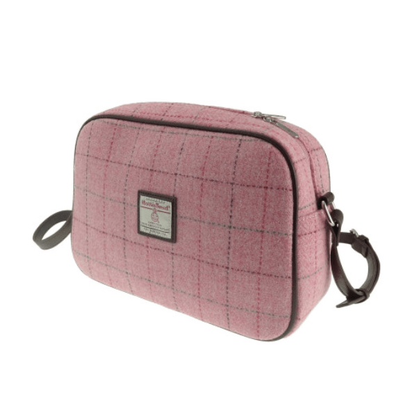 Harris Tweed 'Avon' Shoulder Bag in Bright Pink with Overcheck