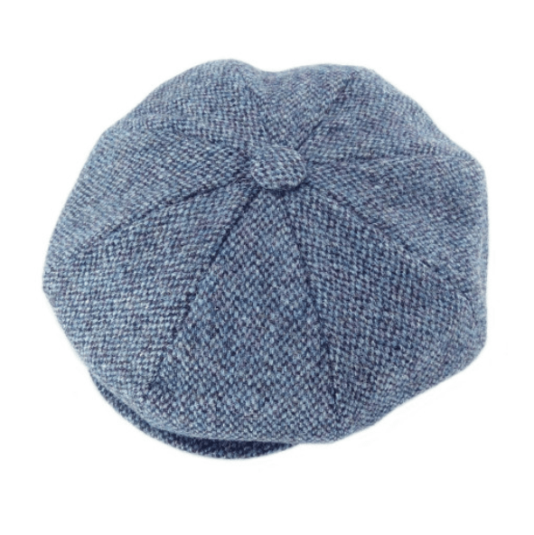 Harris Tweed Baker Boy Cap – Blue