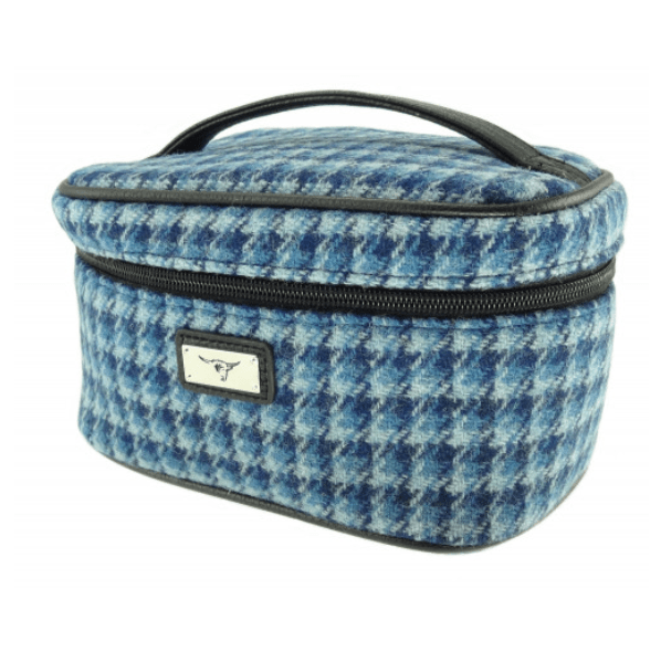 Harris Tweed Cosmetic Bag in Bright Blue Dog Tooth