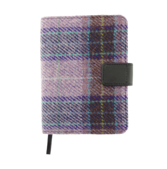 Harris Tweed 'Lomond' Address Book in PinkLilac Check