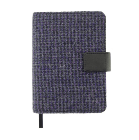 Harris Tweed 'Lomond' Address Book in Small Purple Check