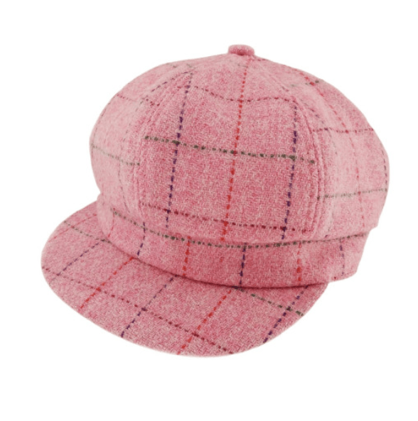Harris Tweed One Size Ladies Cap in Bright Pink with Overcheck