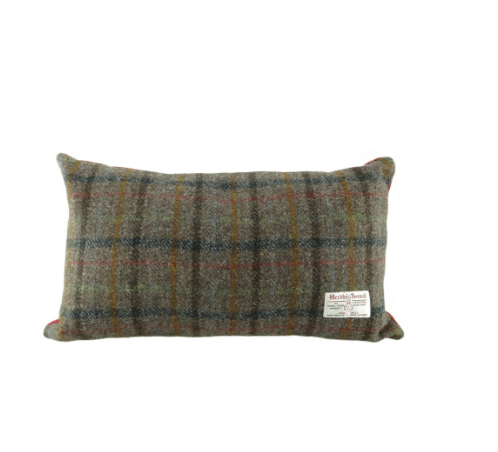 Harris Tweed Rectangular Cushion in Brown Check1