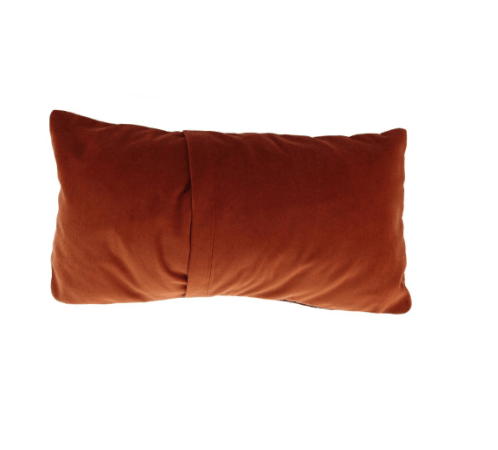 Harris Tweed Rectangular Cushion in Rust Check2