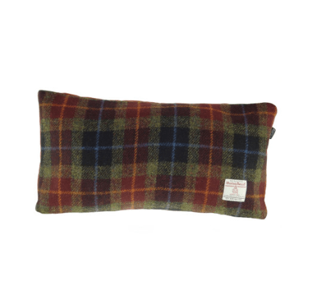 Harris Tweed Rectangular Cushion in Rust Check3