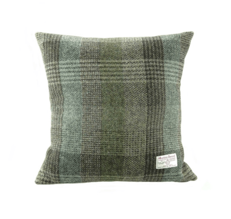 Harris Tweed Square Cushion in Green Patchwork1