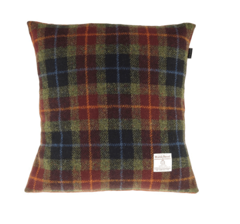 Harris Tweed Square Cushion in Rust Check1
