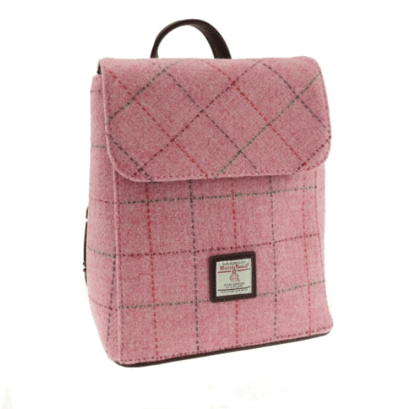 Harris Tweed 'Tummel' Mini Backpack in Bright Pink with overcheck