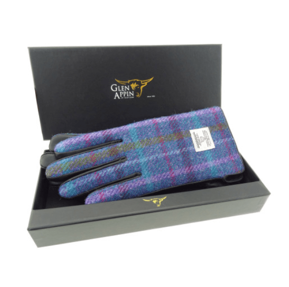 Ladies Black Leather & Harris Tweed Gloves Boxed in Purple Multi Check