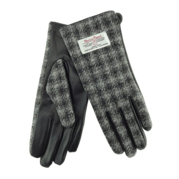 Ladies Black Leather & Tweed Gloves in Grey Dogtooth – SML