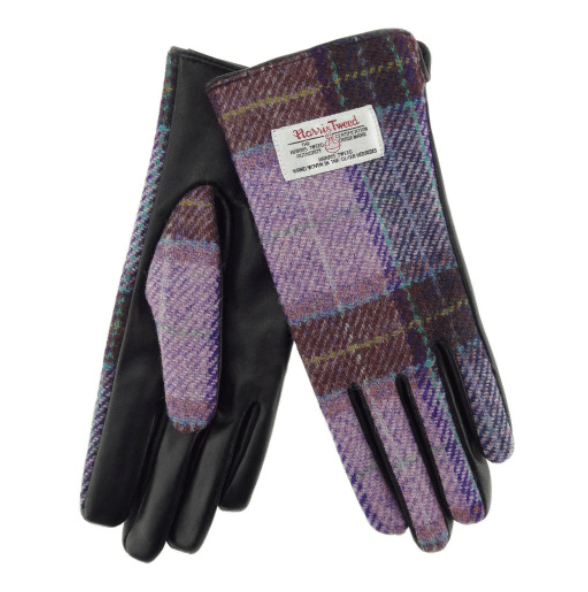 Ladies Black Leather & Tweed Gloves in PinkLilac Check – SML