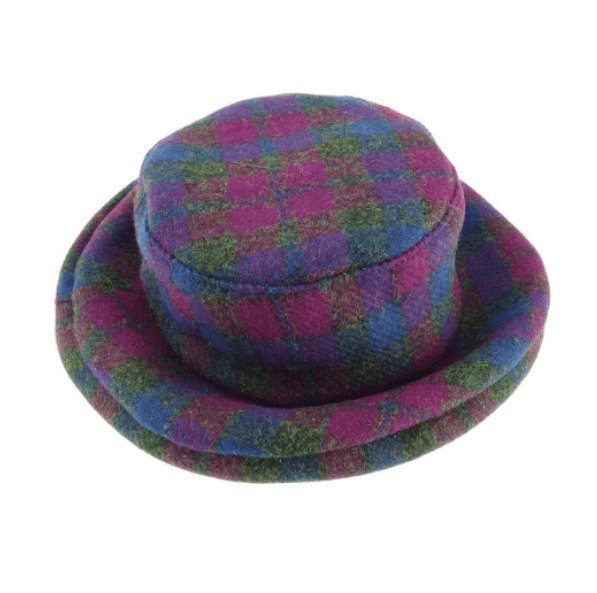 Ladies One Size Harris Tweed Cloche Hat in Heather Check
